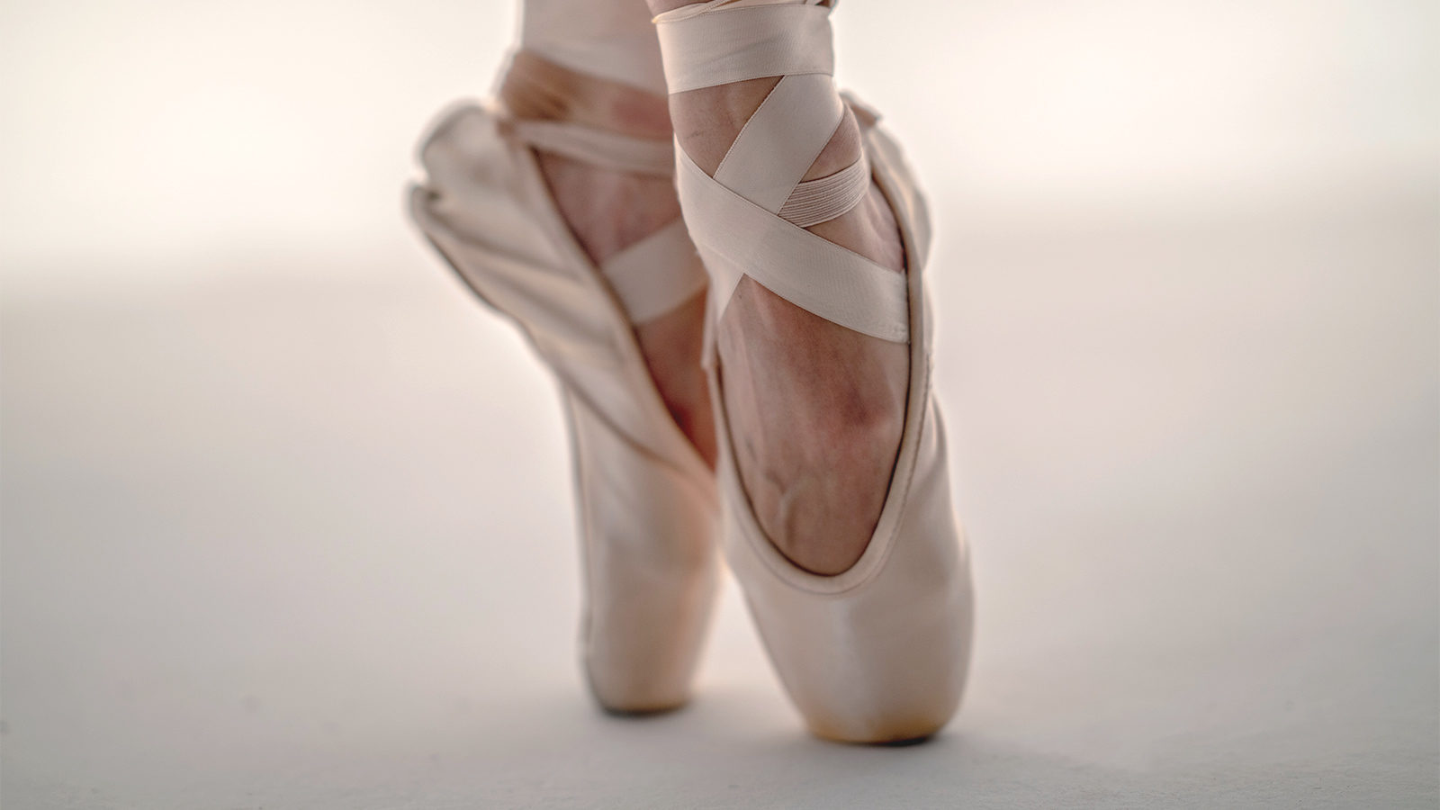 Close up of ballerina's shoes